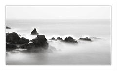 Stazzo (B&W) (Les Cornwell Photos) Tags: sea water coast waves rocks seascape longexposure 10stopper stazzo italy sicily