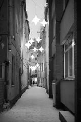 Rga 25 (Vygintas R.) Tags: 2011 bw juosta ryga 0047n11 rga bessar2a cron50 film kodaktmax400 kodak400tmax latvia january street city snow winter stars magic night