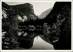 postcard - Yosemite (Jassy-50) Tags: postcard california unescoworldheritagesite unescoworldheritage unesco worldheritagesite worldheritage whs nature nationalpark park yosemitenationalpark yosemite mirrorlake lake mountwatkins rock mtwatkins mountain anseladams blackandwhite blackwhite