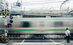 As time passes... (edward.cheung) Tags: japan train waiting tokyo shinjuku japanese sony a6000 1670z slow shutter street road stop by