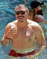 IMG_7831 (danimaniacs) Tags: swimmingpool party shirtless hot sexy man bear beard scruff smile tattoo swimsuit trunks