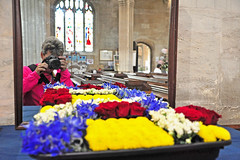 260 2016 St Mary's Flower Festival, Fairford (Margaret Stranks) Tags: stmaryschurch fairford gloucestershire uk flowerfestival 260366 365days 2016 compositioninredblueandyellow pietmondrian paintingstheme