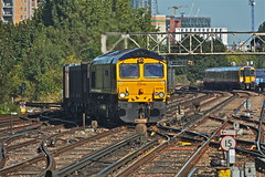 Shimmering Through (Deepgreen2009) Tags: busy telephoto gbrf diesel 66 shimmer heat engine locomotive empty long freight approaching railway train claphamjunction