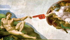 God And Adam (clabudak) Tags: god adam creation sistinechapel italy michelangelo fresco painting art foamfinger