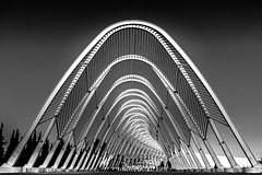 Olympic field in Athens, Greece (Explored: 11-10-2016) (Chacky) Tags: the olympic sport complex athens greece favorite architect santiagocalatrava d archetecture blackandwhite bw black blackwhite white whiteblack monochrome perspective symmetrical symetrical symmetry streetphotography urban urbanphotograhy canon canon600d camera explored inexplore explore photo greek 2004 art