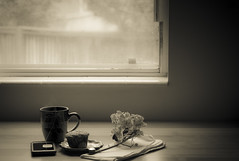 a leisurely morning - 277/366 (auntneecey) Tags: tea teabagwisdom aleisurelymorning 366the2016edition 3662016 day277366 3oct16 monochrome mono tabletop sans couleur odc