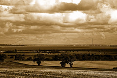 Humber Bridge in sepia (alan.irons) Tags: humberbridge sepia humber river hull fields eos1dx canon north lincolnshire