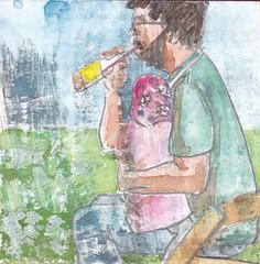 # 281 (07-10-2016) (h e r m a n) Tags: herman illustratie tekening bock oosterhout zwembad 10x10cm 3651tekenevent tegeltje drawing illustration karton carton cardboard vaderendochter vader dochter fatheranddaughter father daughter