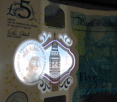 Five Pounds (metrogogo) Tags: newfiver london money banknote fiver winstonchurchhill bigben elizabethtower newmoney england five 5 bankofengland £ birminghamuk