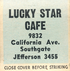 Lucky Star Cafe (jericl cat) Tags: matches matchbook match illustration vintage losangeles paper ephemera restaurant dining cocktail lucky star cafe girlie pinup cutetrick southgate south gate