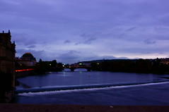 View from Charlesbridge (lukasmayer) Tags: prague prag praha czech republic moldau river sunset evening bridge langzeitbelichtung city stadt karlsbrcke view