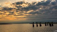 Zeelandbridge (BraCom (Bram)) Tags: bracom cloud wolk bridge brug reflections poles palen clouds wolken windmill windturbine windmolen spiegeling avond evening sunset zonsondergang zierikzee zeelandbrug oosterschelde zeeland nederland netherlands holland canoneos5dmkiii widescreen canon 169 canonef24105mm bramvanbroekhoven nl