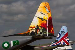 Pakistan AF Lockheed C-130E Hercules 144 tail, with RAF Lockheed C-130J Hercules C.5 ZH883 tail (Hugh Dodson) Tags: friday riat riat2016 pakistanaf lockheed c130e hercules 144 specialmarks raf c130j herculesc5 zh883 50yearanniversarymarks