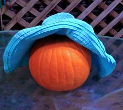 Tabernacle Decoration (Chic Bee) Tags: decoration bright fullmoon huntersmoon succot feastoftabernacles feastofbooths tucson arizona southwesternusa americansouthwest festive pumpkin bluehat orange blue