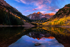 Glowing Bells! (Explored) (momentsbyjohn) Tags: autumn trees sky sunrise lake forest mountains winter water reflection travel blue sun clouds tree summer fall snow green mountain mirror peak colorado aspen maroonbells snowmass maroonlake elkmountains automne national park nps100 bay country cloud cloudscape reflections