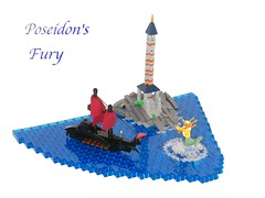 Poseidon's Fury (LukeClarenceVan) Tags: red lighthouse scale greek lego contest sails splash poseidon neptune beacon wrath fury titans circular warship oars grecoroman microscale warscape lukeclarencevan