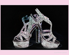My New Shoes. (Jerri Moon Cantone) Tags: pink black feet shoes toes sparkle heels