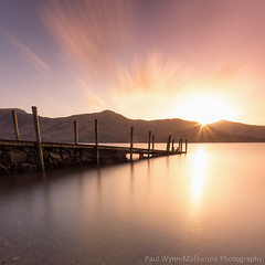 Derwent Golden Sunset (paulwynn-mackenzie.co.uk) Tags: longexposure sunset lake art photoshop landscape photography pier jetty derwent sony lakes lakedistrict adobe sunburst colourful slt lightroom a77 starbust ashness ferryjetty queenofthelakes