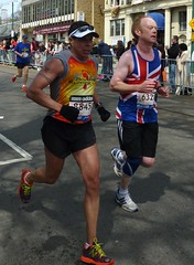 One of these men is American (SteeveeGee) Tags: boston marathon april unionflag 2013 morningtonchasers