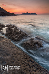 High tide (Rafa Irusta) Tags: ocean sunset sea seascape nature water danger landscape evening coast seaside dangerous twilight spain scenery rocks europe solitude waves alone outdoor dusk tide horizon scenic tranquility nobody scene coastline serene cantabria peacefull loneness sonabia rafairusta rafairustacom