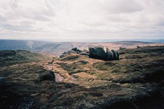 (Aage Drake) Tags: mountain film 35mm walking landscape view sheep peakdistrict sculptural rambling gritstone kinderscout ricohgr1s kodakektar100
