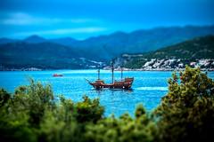 Pirate Ship (Tilt-Shift) (MLazarevski) Tags: blue trees sea green clouds boat miniature sailing ship shift croatia tilt dubrovnik tiltshift