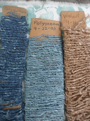 Milkweed Yarn with Natural Dyes (milkweed seed) Tags: pink green yellow garden walnut indigo yarn textile fiber milkweed handspun coreopsis naturaldye plantdyed plantdye yarnsamples indigodyed plantfiber milkweedyarn