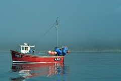 Fishing boat in the sunshine & fog in New Quay (karen leah) Tags: newquay ceredigion fog boats harbour oneboat mist