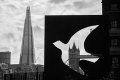 Framed (Spannarama) Tags: shard towerbridge hermitageriversidememorialgarden blitzmemorial sculpture memorial blackandwhite thames river london uk