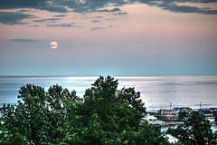 Full Buck Moon over Sea Bright, NJ (aka Buddy) Tags: ocean summer sky moon clouds nj atlantic og locust middletown 2016