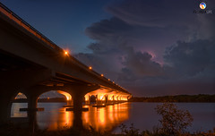 Florida Life: Troubled Waters (Thncher Photography) Tags: sony a7r2 sonya7r2 ilce7rm2 zeissfe1635mmf4zaoss fx fullframe scenic landscape waterscape sky clouds storm lightning bridge shadows reflections longexposure palmcity stuart florida southeastflorida stlucieriver hurricane tropicalstorm