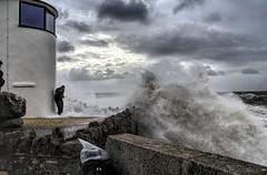 Beat a Retreat ... With Wet Feet ! (Jon_Wales) Tags: porthcawl breakwater wales welsh cymru sea weather power spray foam wet