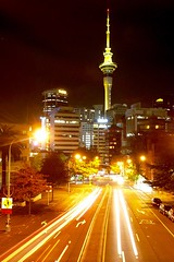 Sky Tower, Auckland at night. (Joshua Cas) Tags: auckland newzealand tz1 aotearoa skytower night longexposure