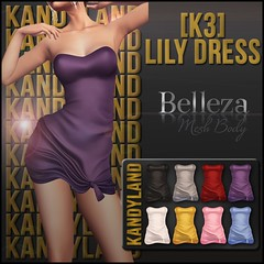 [K3] Lily Dress (#Belleza) (Ruby Jackson [KANDYLAND]) Tags: lily dress tight skintight wrap summer beach slink belleza maitreya physique hourglass isis freya venus lara choices hud fatpack fitted mesh new release secondlife second life designer creator