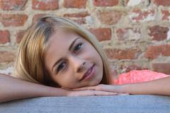 Zoë - age 13 (RURO photography) Tags: teen teenager teenagegirl 13 girl lier belgium belgique belgië schoolgirl schoolmeisje preteen prettenager model photomodel blond blondine blondje begijnhof pink jeans jeansshort short