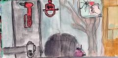 im Notfall würde sie mit dem Hammer die ihr bekannte Welt zertrümmern (raumoberbayern) Tags: sketchbook skizzenbuch tram munich münchen bus strasenbahn herbst winter fall pencil bleistift paper papier robbbilder stadt city landschaft landscape auto car red rot