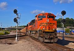 "Southbound Coal Train in Kansas City, MO (""Righteous"" Grant G.) Tags: bnsf railway railroad locomotive train trains south southbound west westbound loaded load coal kansas city missouri"