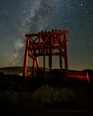 Headframe and Milky Way (Jeffrey Sullivan) Tags: light painting headframe mining equipment night photography workshop bodie state historic park milky way star trails eastern sierra bridgeport mono county california united states usa landscape canon eos 6d photo copyright 2016 jeff sullivan august wildwest ghosttown abandoned