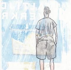 # 249 (05-09-2016) (h e r m a n) Tags: herman illustratie tekening bock oosterhout zwembad 10x10cm 3651tekenevent tegeltje drawing illustration karton carton cardboard boy jongen back rug rucke ruggenfiguur ruckenfigur