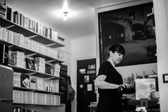 Getting Prepared (James Hodgson Photography) Tags: black white canon prime 50mm 14 paris apartment flat wine bookshelf kitchen portrait candid