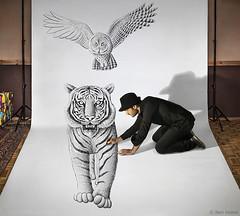 Pencil Vs Camera 74 - Making 2 (Ben Heine) Tags: tiger tigre makingof pencilvscamera art 3d benheine drawing dessin studio anamorphosis anamorphose illusion animal sketch giant benheineart