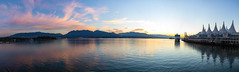 Vancouver Waterfront Sunrise (S Richards Photography) Tags: colours harbour mountains panorama reflection ship sky sunrise vancouver vancouverconventioncentre water waterfront