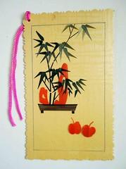 Chinese bookmark 5 (tengds) Tags: bookmark chinese chinesebookmark bamboo bonsai tree apples rockart yellow orange green brown handmade papercraft tengds