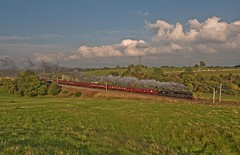 "LMS Jubilee Class 6P 4-6-0 No 45690 Leander in charge of ""The Cumbrian Coast Express at Great Strickland (penlea1954) Tags: cumbrian coast route carnforth wcml west mainline lms jubilee class 6p 460 no 45690 leander charge the express climbing great strickland uk steam train railways railway"
