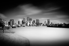 Canary Wharf across the Lower Pool- (Richard Reader (luciferscage)) Tags: fuijifilmxt1 fujixt1 london riverthames thames thamesidewalk river limehouse wapping shadwell canarywharf isleofdogs longexposure