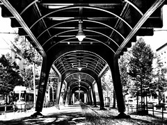 Under the subway bridge. (ANBerlin) Tags: prenzlberg sonnenstrahlen sunbeams tag day lampen lamps symmetrie symmetry schatten shadow alt old gleise railway stdtisch urban stadt city stahl steel deutschland germany berlin prenzlauerberg avenue schnhauserallee m1 u2 hochbahn elevated viadukt viaduct architektur architecture brcke bridge ubahn strasenbahn tram trolly cablecar metro subway infrastruktur infrastructure abstrakt abstract drausen outdoor ausergewhnlich extraordinary weis schwarz sw bw white black blackwhite anb030 shotoniphone iphotography iphonography 6splus iphone6s iphone apple