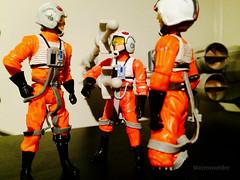 Rebel pilots go over details (Macroworlder) Tags: star wars hasbro disney rebel pilots xwing hangar bay