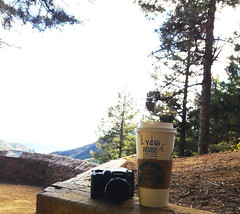 Starbucks Tour 3 (Lydia_Brave) Tags: camera canon starbucks color forest colorado coffee salted caramel lydia name art photography photographer asthetic light contrast photoshop wood rocks fall autumn sky green brown white black