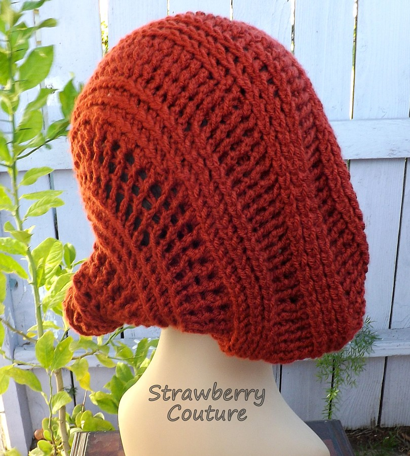 e2097625af272 LUNCH LADY Crochet Beanie Hat in Terra Cotta Womens Hat (strawberrycouture)  Tags  ifttt