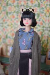 CCS 16AN momoko PS (Girl Least Likely To) Tags: momoko closeclippedsheep ccs ccs16anmomokops asianfashiondolls japanesetoys knitwear miniatures books toys dolls dollscene dollroom office